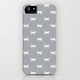 Cat silhouette cat lady cat lover grey and white minimal modern pet silhouette pattern iPhone Case