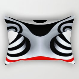 Black White and Red Geometric Abstract Rectangular Pillow