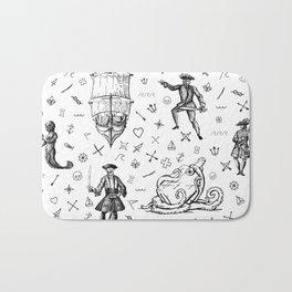 Pirate's Life Stick and Poke Illustration Bath Mat