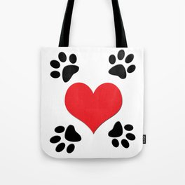 Hearts and 4 Paws Tote Bag