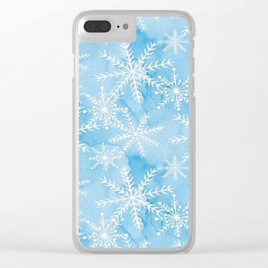 Blue Snowflakes #2 Clear iPhone Case