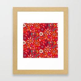 Chrysanthemum Garden in Red Framed Art Print