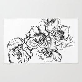 Flowers Line Drawing Rug