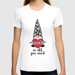 Valentine Gnome with heart and marijuana leaves T-shirt