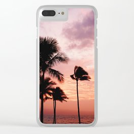 Tropical Sunset Clear iPhone Case