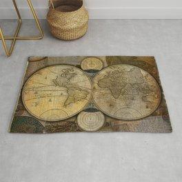 """""""Vintage paper & Maps (burlap texture)"""" Rug"""