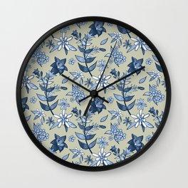 Monochrome Tan and Blue Alpine Flora Wall Clock
