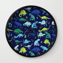 Watercolor Dinosaur Blue Green Dino Pattern Wall Clock