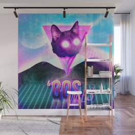 '80s Laser-Eyed Cat Wall Mural