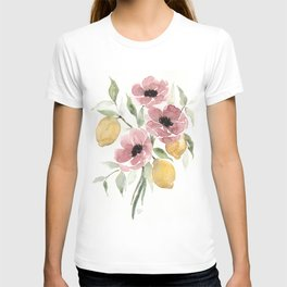 Watercolor-poppies-and-lemons T-shirt