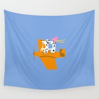 airplane Wall Tapestries featuring Airplane and Dalmatians by Vitta