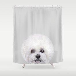 Bichon illustration, Dog illustration original painting print Shower Curtain