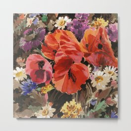 Fashion Textail Floral Print Design, Wildflower Flower Bouquet Allover Pattern Metal Print