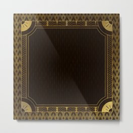 Dark Brown & Gold Art-Deco Style Metal Print