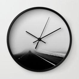 On the Road - Road trip photo, fog photograph, highway dramatic, landscape photo Wall Clock