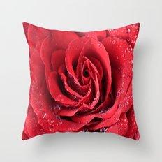 Red Swirl Rose Throw Pillow