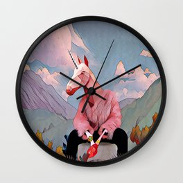 Unicorn with the fur coat Wall Clock