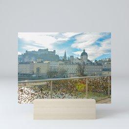Lock Bridge Salzburg Castle Austria Mini Art Print