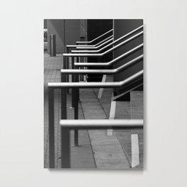Black and White Rails Metal Print