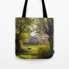 Forest, sunset, art photography at the bulgarian village Lisicite Tote Bag