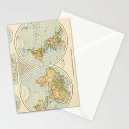 Vintage Map of The World (1895) Stationery Cards