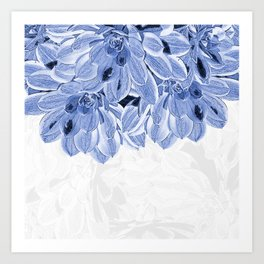 Elegant Blue Flowers Design Art Print