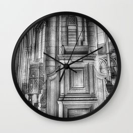 Pulpit in Black and White Wall Clock