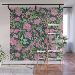 Pink repeating flower pattern Wall Mural