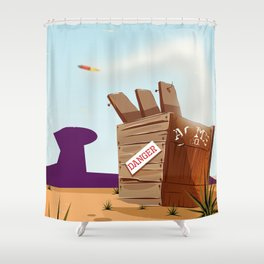 acme rocket crate Shower Curtain