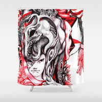 ashton irwin Shower Curtains featuring red wood by Maethawee Chiraphong