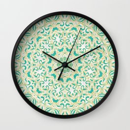 Floral Pattern Gold and Emerald Green Wall Clock