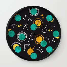 Great Total Solar Eclipse II // turquoise green moons Wall Clock