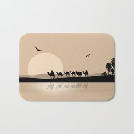 Camel Caravan going through the Desert Bath Mat