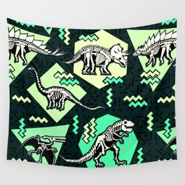 90's Dinosaur Skeleton Neon Pattern Wall Tapestry