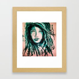 Blue hair, Don't care Framed Art Print