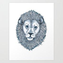 Blue Eyed Lion Art Print