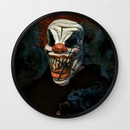 Scary Clown Blue Smoke Wall Clock