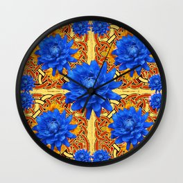 Yellow & Brown Celtic Design  Blue Dahlias Wall Clock