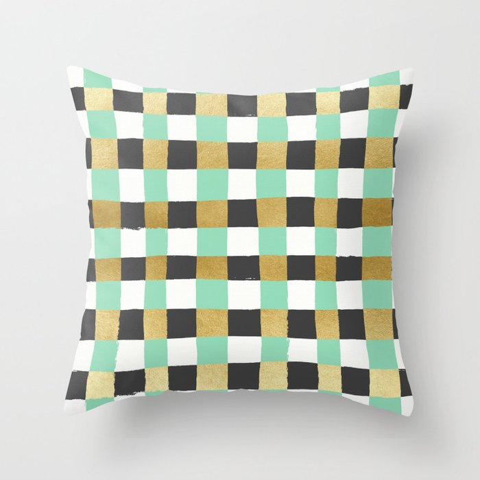 Panted Gingham - Mint Throw Pillow