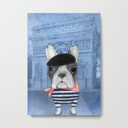 Frenchie with Arc de Triomphe Metal Print