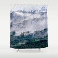 vietnam Shower Curtains featuring Foggy Mountain of Sa Pa in VIETNAM by CAPTAINSILVA