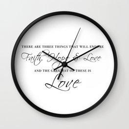 faith hope & love Wall Clock