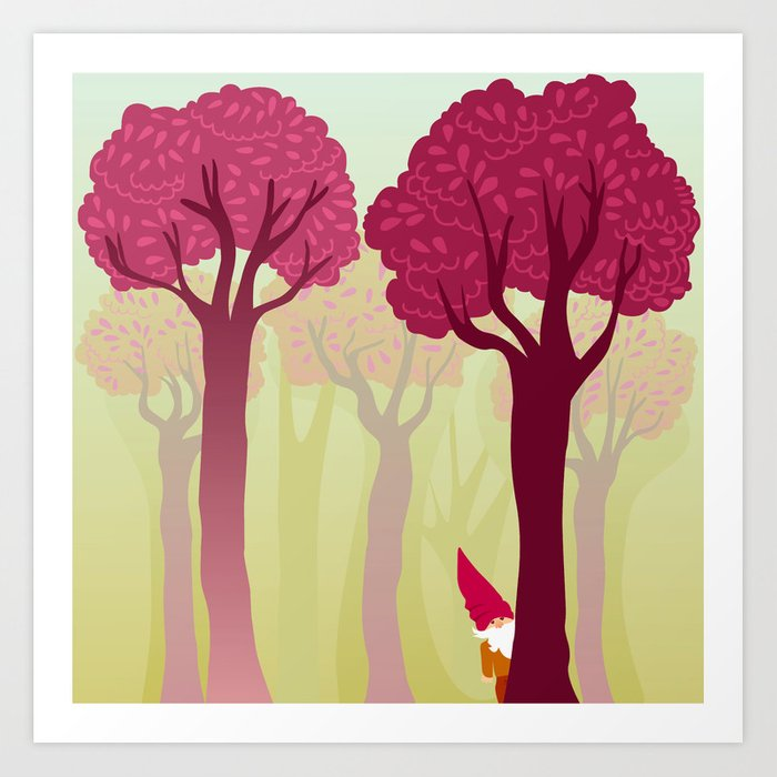 colorful forest with cute dwarf Art Print