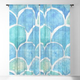 Mermaid Scales Turquoise Sheer Curtain
