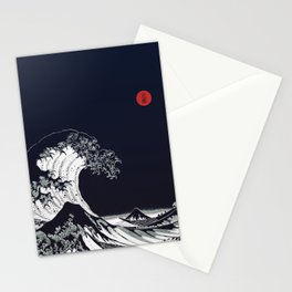 Big Blue Wave Little Red Moon Stationery Cards