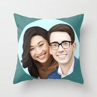 jenna kutcher Throw Pillows featuring Jenna Ushkowitz and Kevin Mchale by weepingwillow
