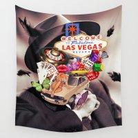 las vegas Wall Tapestries featuring Las Vegas Maniac by Kiki collagist