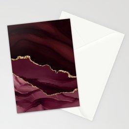 Burgundy Pink Geode & Gold Glitter Stationery Cards