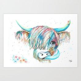 Highland Cattle full of colour Art Print