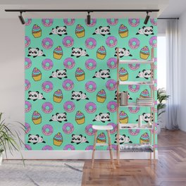 Cute funny Kawaii chibi little playful baby panda bears, happy sweet pink donuts and adorable yummy cupcakes light pastel teal green pattern design. Nursery decor. Wall Mural